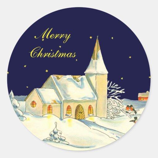 Christmas church winter scene stickers