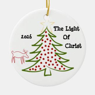 Christmas Circle Ornement Light of Christ Tree Round Ceramic Decoration