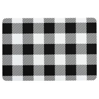 Christmas classic Buffalo check plaid pattern B&W Floor Mat