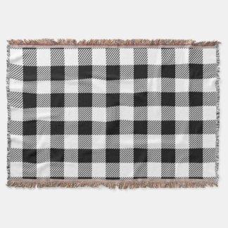 Christmas classic Buffalo check plaid pattern B&W Throw Blanket