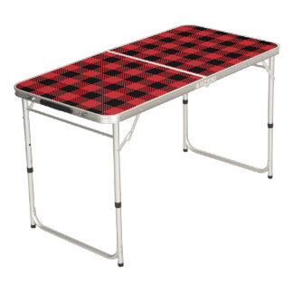 Christmas classic Buffalo check plaid pattern Beer Pong Table