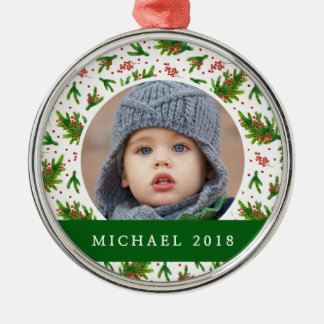 Christmas | Classic Pine Branch & Berries Pattern Christmas Ornament