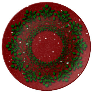Christmas Classic Red & Green Holiday Wreath Plate