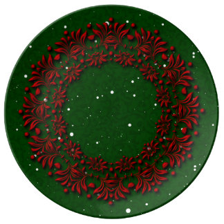 Christmas Classic Red on Green Holiday Wreath Plate