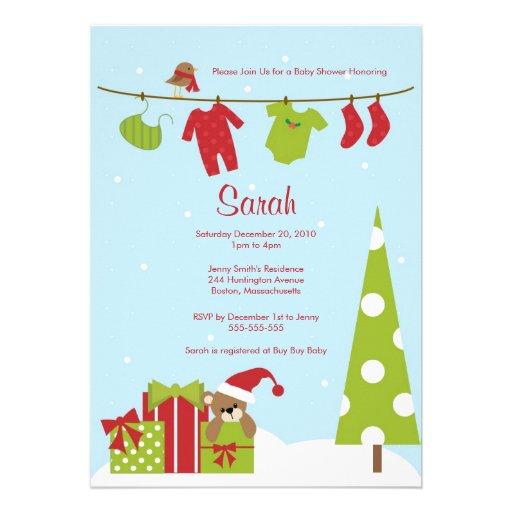 Christmas Clothesline Baby Shower Invite