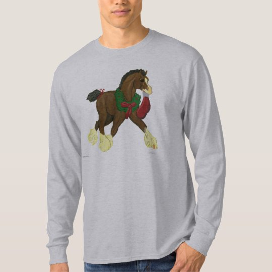 Christmas Clydesdale Horse Colt Long Sleeve T T-Shirt