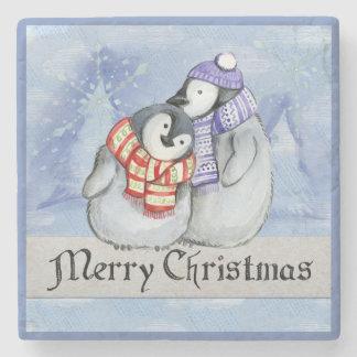 CHRISTMAS COASTER. PENGUINS, SCARF AND HAT STONE COASTER