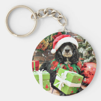 Christmas - Cockapoo - Baxter Basic Round Button Key Ring