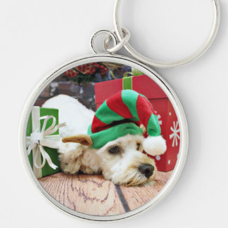 Christmas - Cockapoo - KC Silver-Colored Round Key Ring