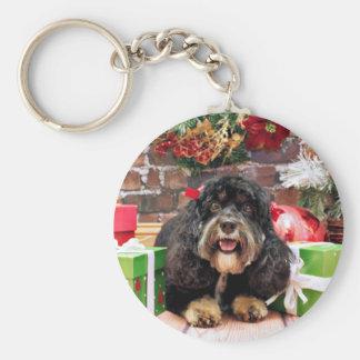 Christmas - Cockapoo - Sadie Basic Round Button Key Ring