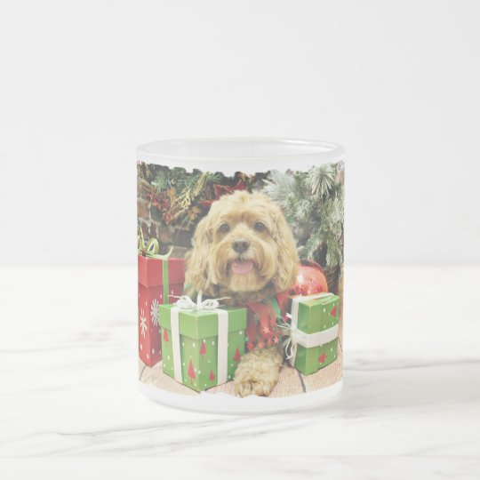 Christmas - Cockapoo - Wriggley Frosted Glass Coffee