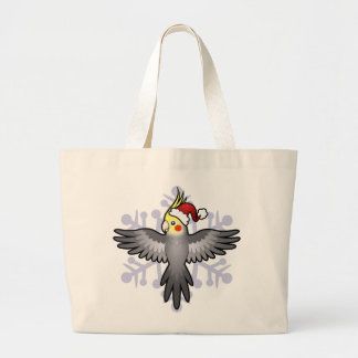 Christmas Cockatiel Large Tote Bag