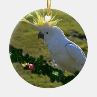 Christmas Cockatoo Bird in Australia Round Ceramic Decoration