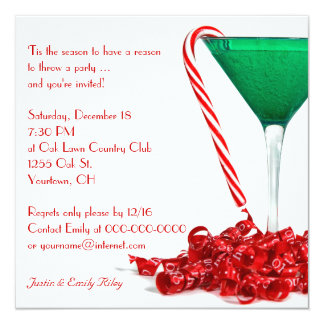 Christmas Cocktail Party 13 Cm X 13 Cm Square Invitation Card