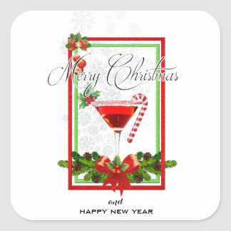 Christmas Cocktail Watercolor Art Square Sticker