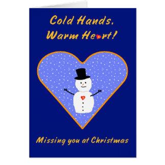 Christmas cold hands warm heart snowman card