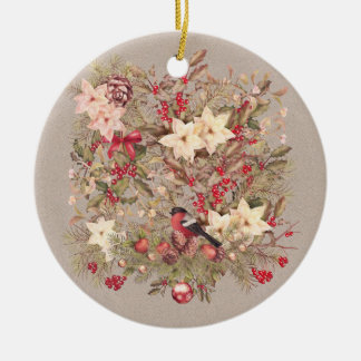 Christmas Collage Ceramic Round Ornament