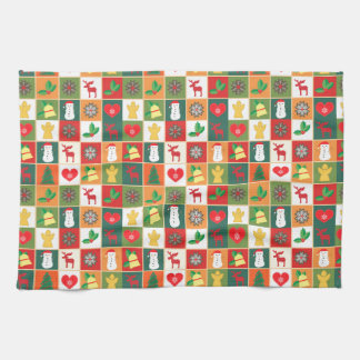 Christmas collage images tea towel