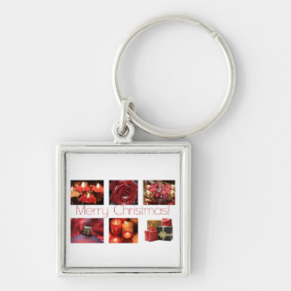 Christmas Collage in Red Key Chain