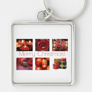 Christmas Collage in Red Keychains