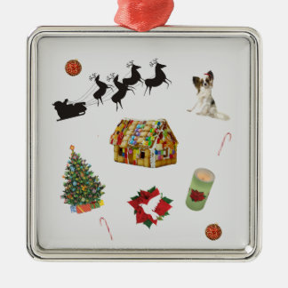 Christmas Collage Silver-Colored Square Decoration