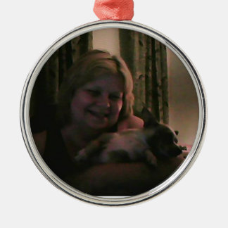 Christmas Collection Add Photo Family Pet Silver-Colored Round Decoration