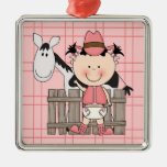 Christmas Collection Baby Cowgirl Horse Silver-Colored Square Decoration