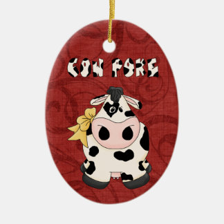 Christmas Collection Country CowPoke Cow Christmas Ornament