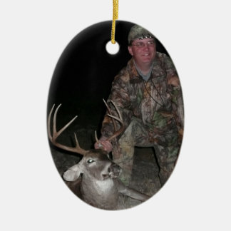 Christmas Collection Deer Hunt Add Photo Text Ceramic Oval Decoration