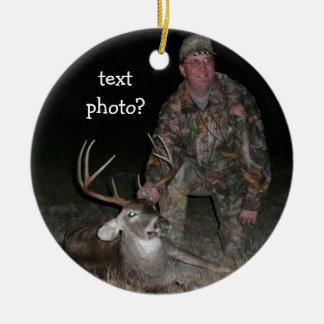 Christmas Collection Deer Hunter Add Photo Round Ceramic Decoration
