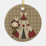 Christmas Collection Native American Indian Girl Double-Sided Ceramic Round Christmas Ornament