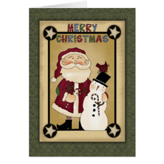 Christmas Collection Santa Snowman Greeting Card