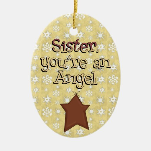Christmas Collection Sister Angel Star Double-Sided Oval Ceramic Christmas Ornament