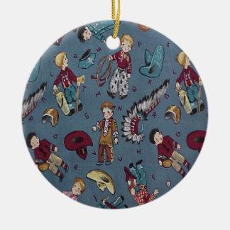 Christmas Collectton Retro Cowboy Indians Round Ceramic Decoration