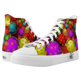Christmas, Colorful, Bright Ornaments High Tops