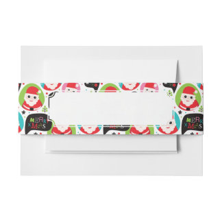 Christmas colorful Santa background Invitation Belly Band