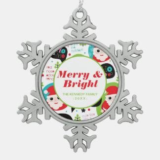 Christmas colorful Santa background Snowflake Pewter Christmas Ornament