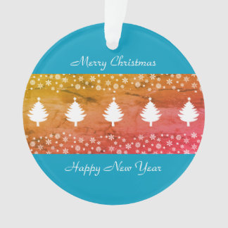 Christmas Colorful Winter Forest Stylish Blue Chic Ornament