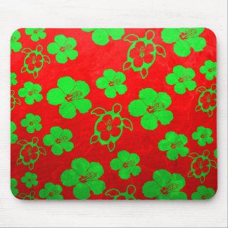 Christmas Colors Hawaiian Honu Mouse Pad