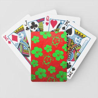 Christmas Colors Hawaiian Honu Playing Cards