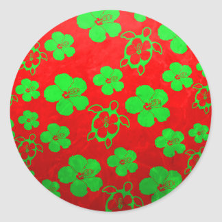 Christmas Colors Hawaiian Honu Round Sticker