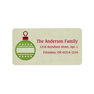 Christmas Colors Ornament Return Address Address Label