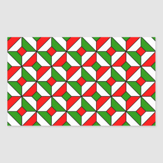 christmas colors pattern rectangular stickers