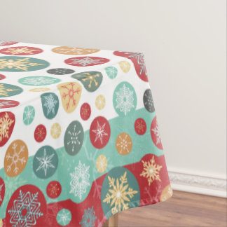 Christmas Colors Retro Deco Snowflakes Tablecloth