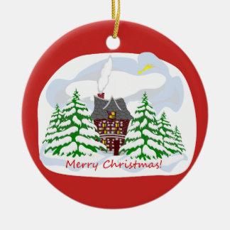 Christmas coming to family house christmas ornament