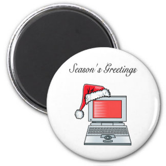 Christmas Computer 6 Cm Round Magnet