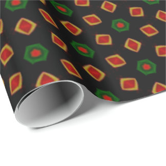 Christmas Confetti Red, Gold Green & Black Holiday Wrapping Paper