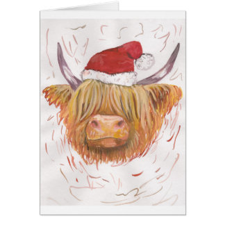 christmas coo Highland Cow with Christmas Hat Card