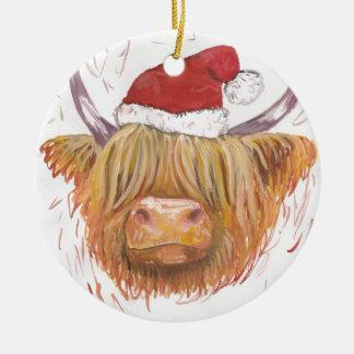 christmas coo Highland Cow with Christmas Hat Christmas Ornament