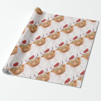 christmas coo Highland Cow with Christmas Hat Wrapping Paper